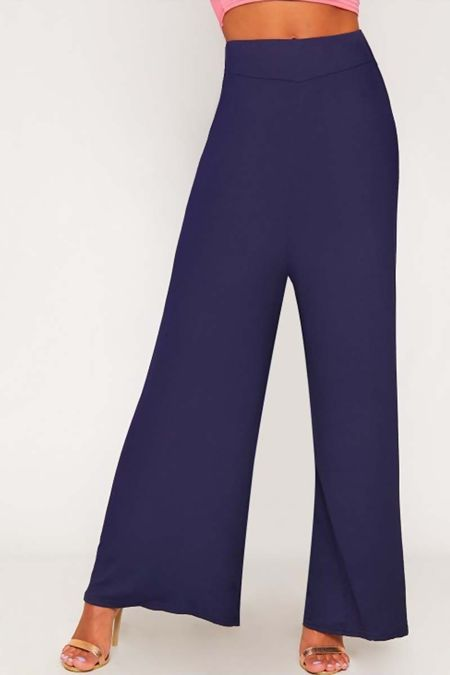 Navy Flared Wide Leg Palazzo Trouser