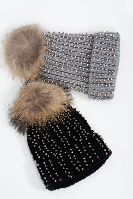 Studded Faux Fur Beanie Hat