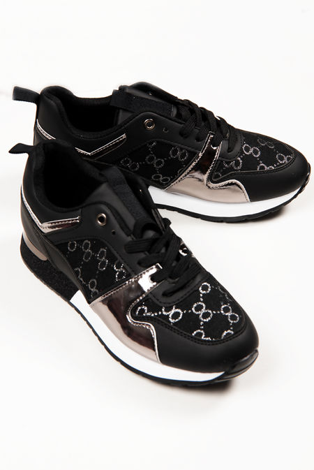 Black Printed Panel Faux Leather Glitter Trainers