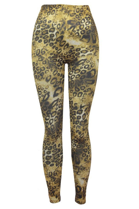 Leopard Print Stretch Fleece Leggings