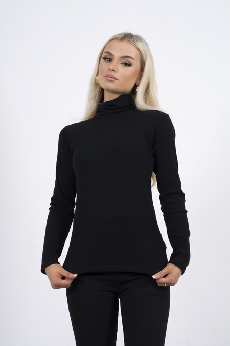 Black Turtle Neck Ribbed Top