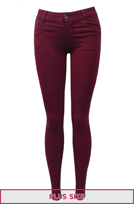 Plus Size Wine Stretch Slim Fit Skinny Jegging