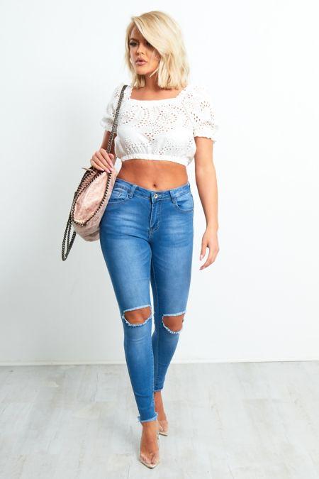 Denim Knee Ripped Skinny Fit Hem Jeans