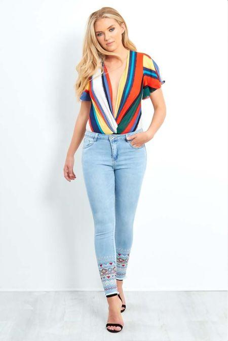 Embroidered Skinny Fit Hem Jeans