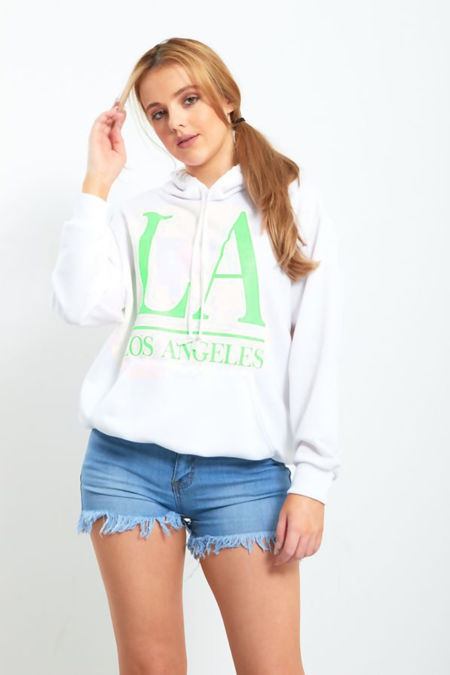 White Hoodie With Neon Green LA Slogan