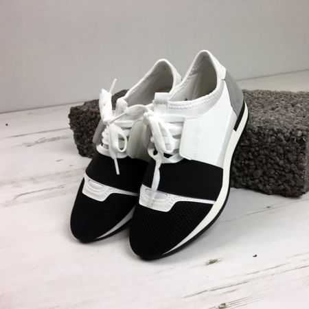 White Mesh Two Tone Lace Up Trainers
