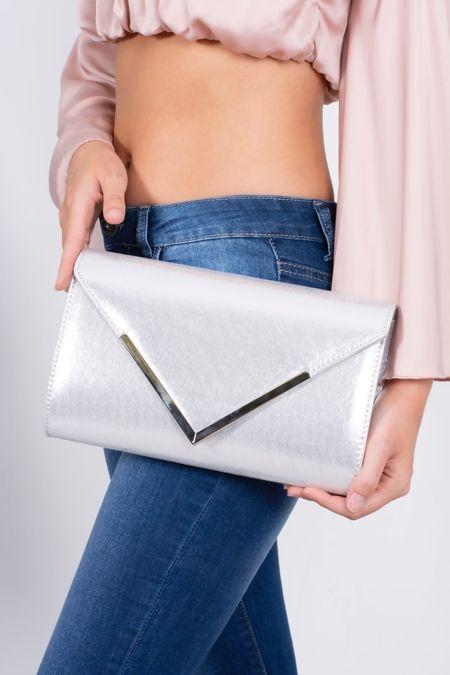 Silver Metallic Envelope Clutch Bag