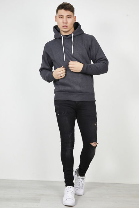 Black Basic Hooded Jacket