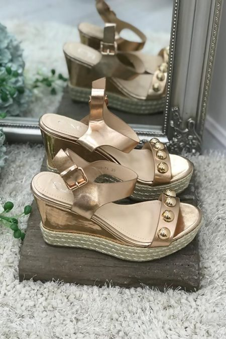 Gold Stud Espadrille Wedges
