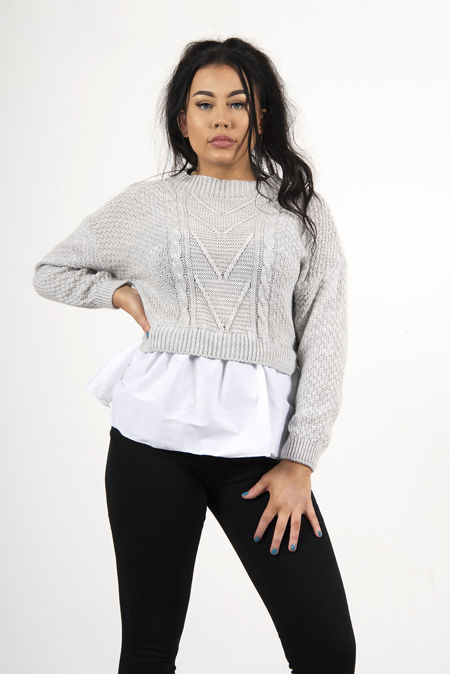 Grey Frill Knitted Shirt Jumper