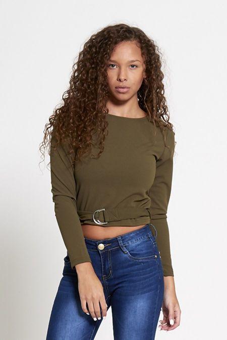 Khaki Belted Long Sleeve Crop Top