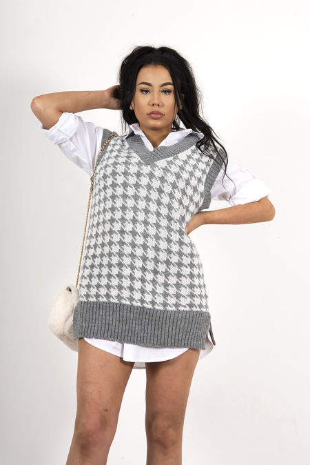 Split Hem Houndstooth Knitted Vest