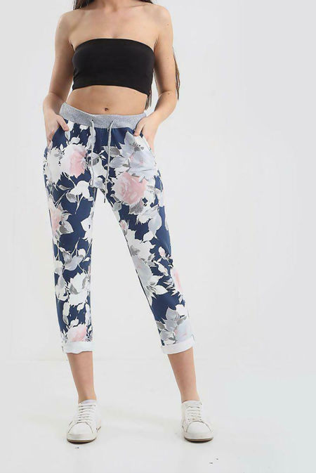 Grey Floral Printed Turn Up Hoop Trouser