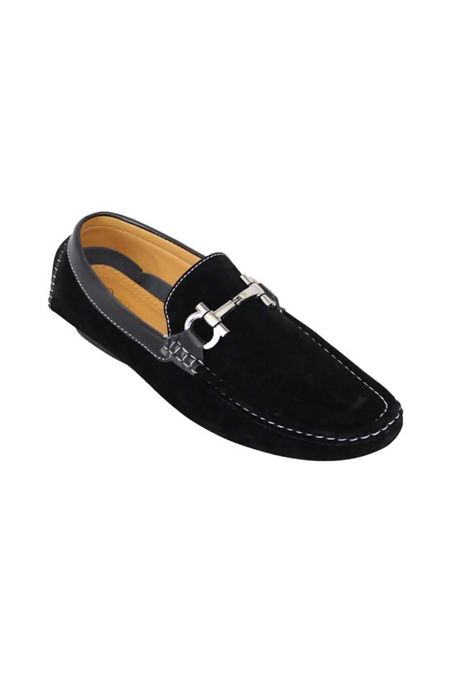Black Loafers Faux Suede With Snaffle Detail