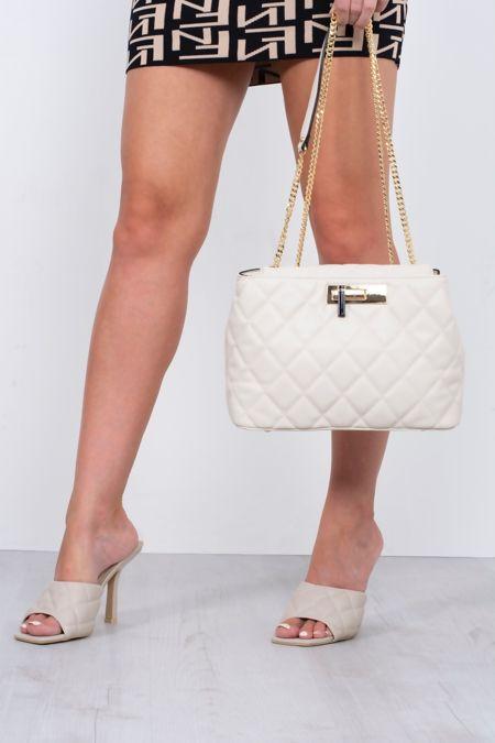 Beige Quilted Shoulder Bag