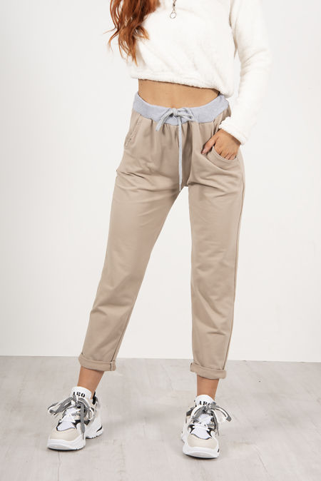 Urban Beige Turn Up Hoop Trouser