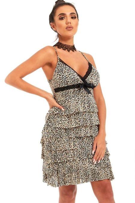 Leopard Print Ruffle Bow Cami Dress
