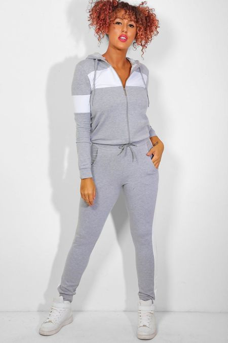 Grey With White Front Panel Hooded Lounge Set