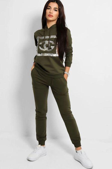 Plus Size Grey Sequin CG Hooded Loungewear Set