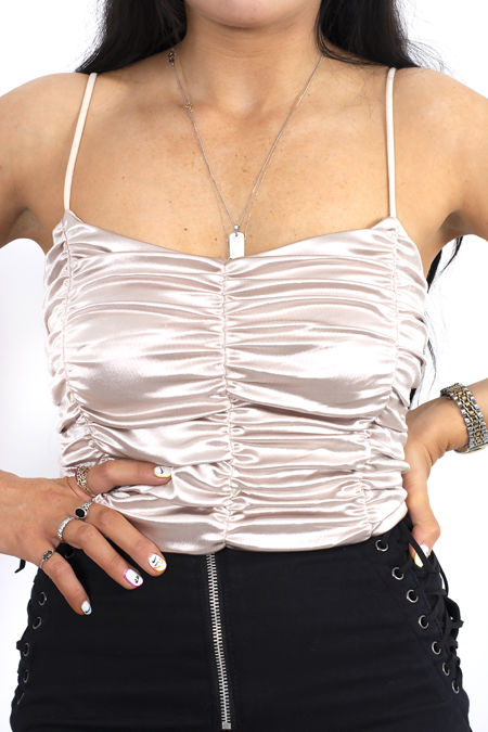 Ruched Satin Crop Top