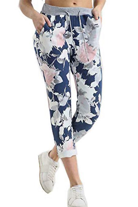 Denim Floral Printed Turn Up Hoop Trouser