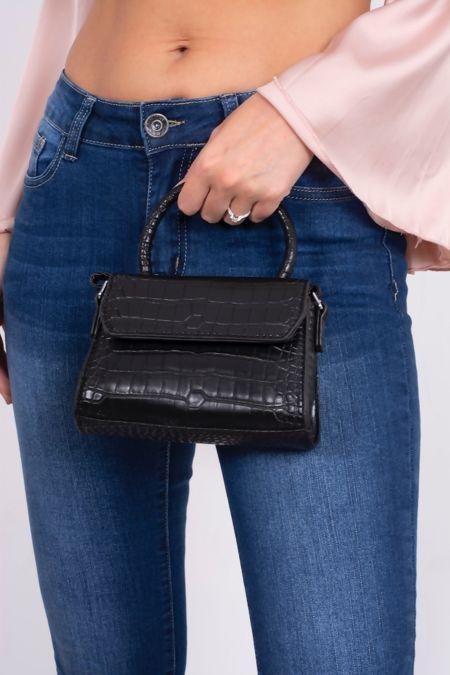 Black Croc Print Mini Bag
