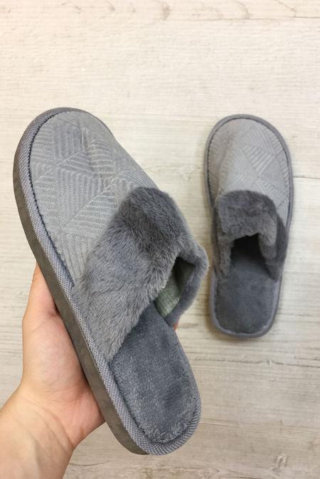 Grey Aztec Mule Slippers