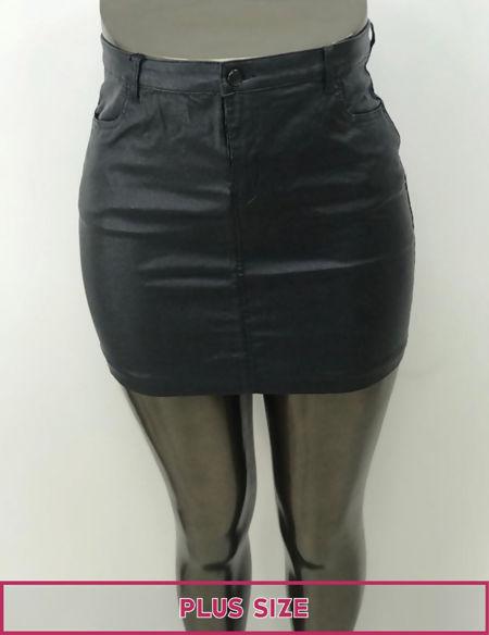 Plus Size Black Glitter Pu Leather Mini Skirt