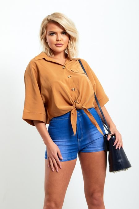 Tie Knot Loose Crop Shirt