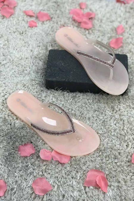 Shinny Diamante Flat Sandals