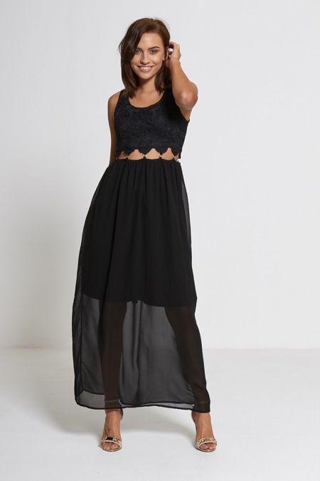 Black Floral Lace Cut Out Middle Maxi Dress