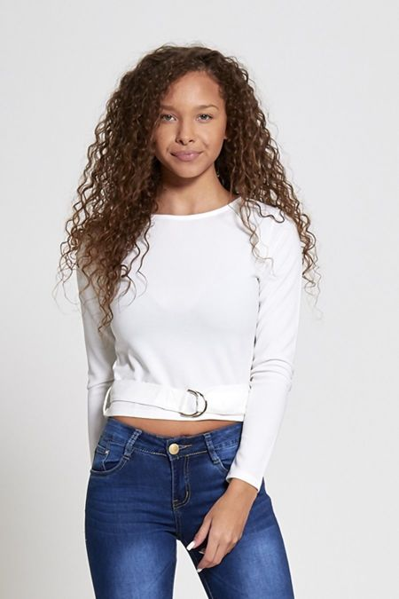 White Belted Long Sleeve Crop Top