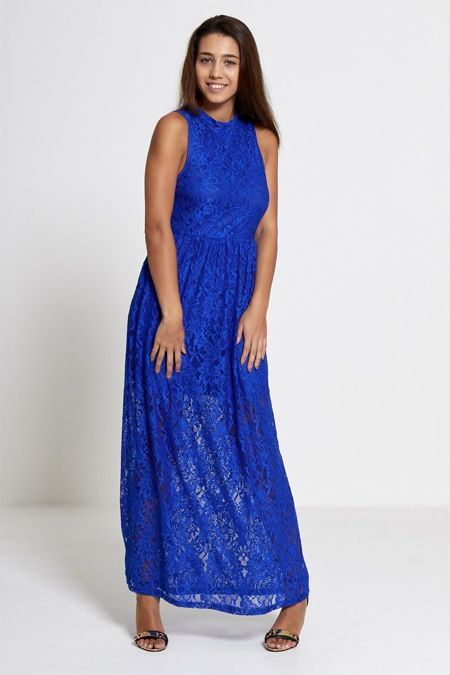 Royal High Neck Floral Lace Maxi Dress
