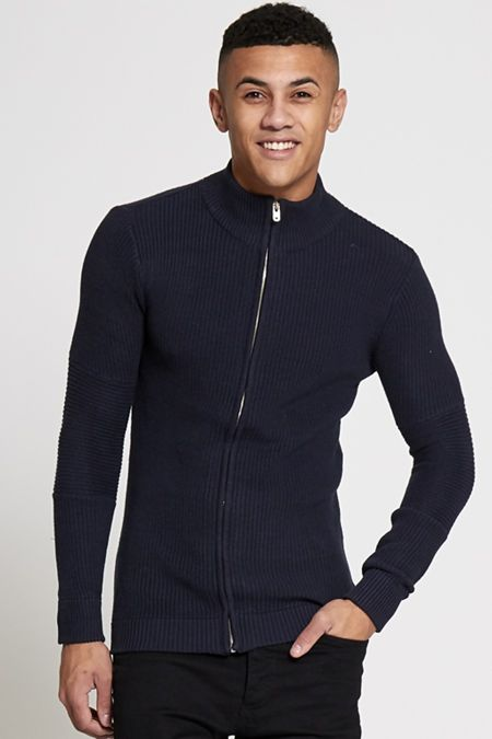 Blue Zip Through Ribbed Cardigan
