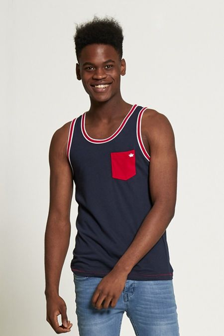 Navy Contrasting Colour Hem Vest