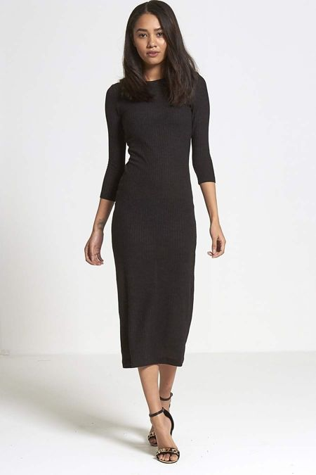 Black Knitted Ribbed Dress