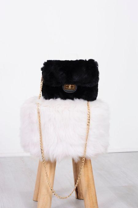 Black Faux Fur Shoulder Bag