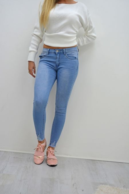 Ice Denim Hem Skinny Fit Jeans
