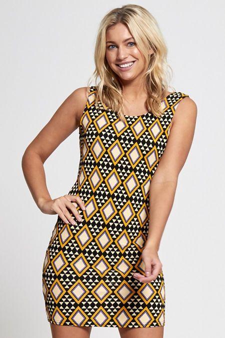 Mustard Bodycon Mini Dress