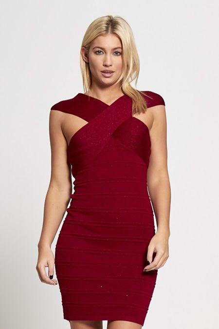 Wine Glitter Cross Over Bandage Dress