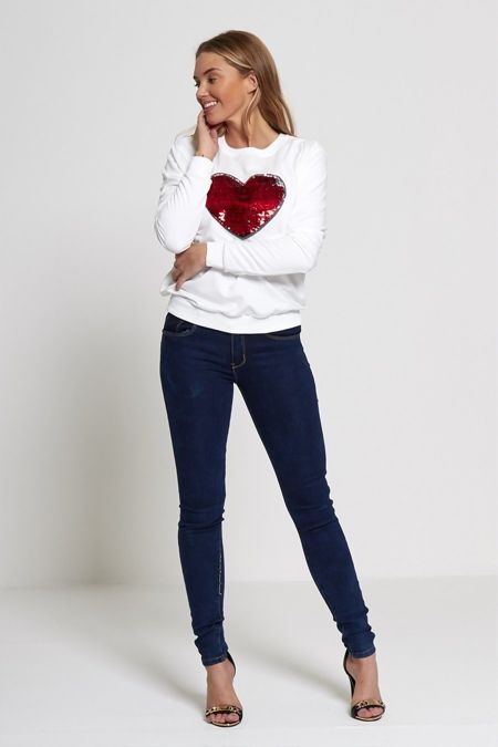Sequin Love Heart White T-Jumper