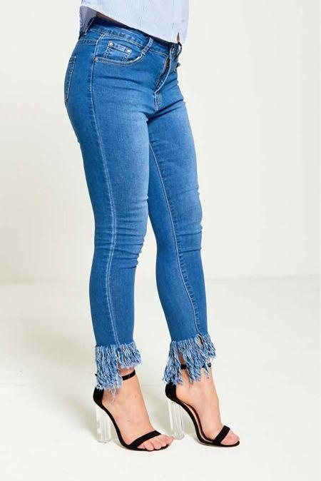 Denim Tassel Hem Skinny Fit Jeans