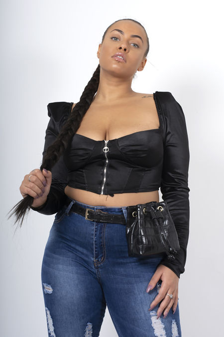 Black Puff Sleeve Zip Up Corset Top