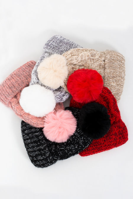 Marl Brushed Cable Knit Pom Beanie