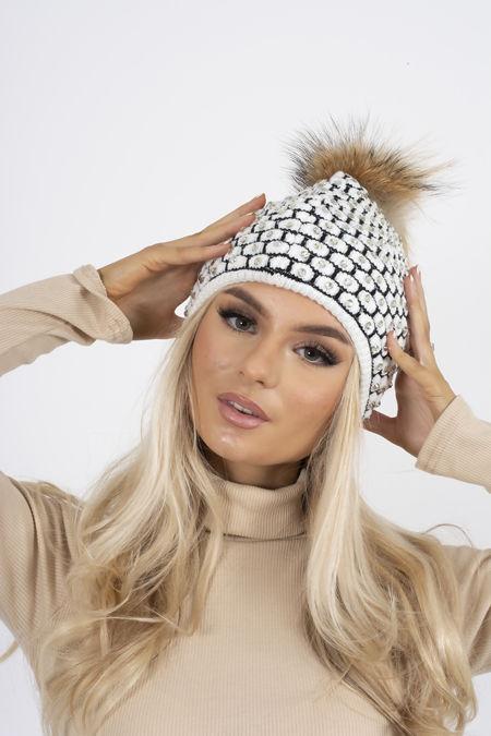 Diamante Faux Fur Beanie Hat