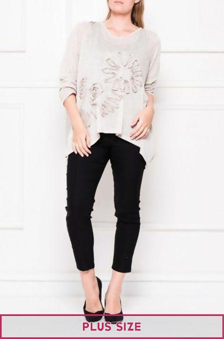 Plus Size Beige Long Sleeves Floral Detail Top