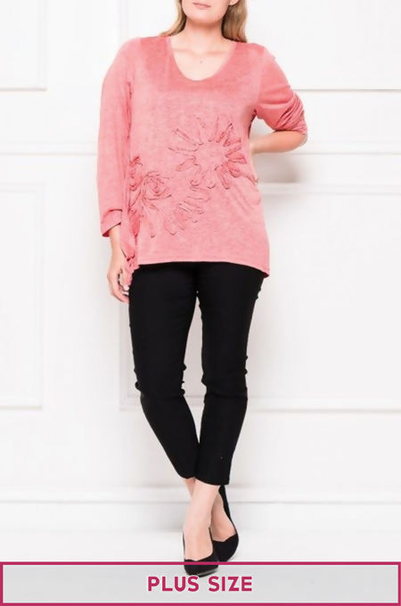 Plus Size Coral Long Sleeves Floral Detail Top