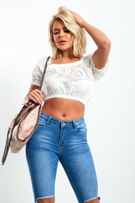 Jasmine White Crochet Top