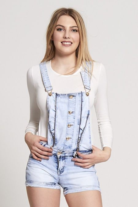 Button Up Stone Washed Denim Playsuit