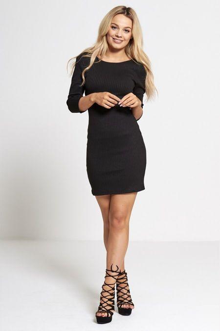 Black Cross Over Back Ribbed Mini Dress